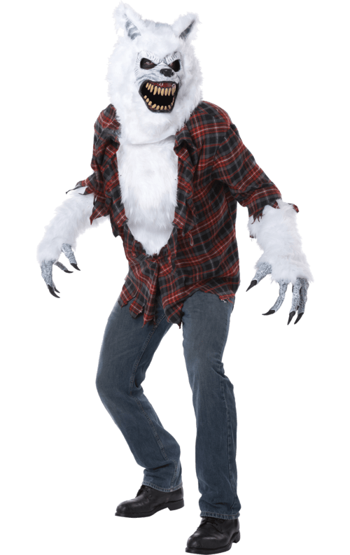White lycan werewolf costume with mask