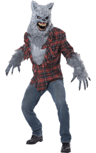 Grey lycan werewolf costume with mask