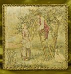B736 - Superb Antique French Tapestry Chocolate Box, Romantic 18th C Scene, Early 1900's