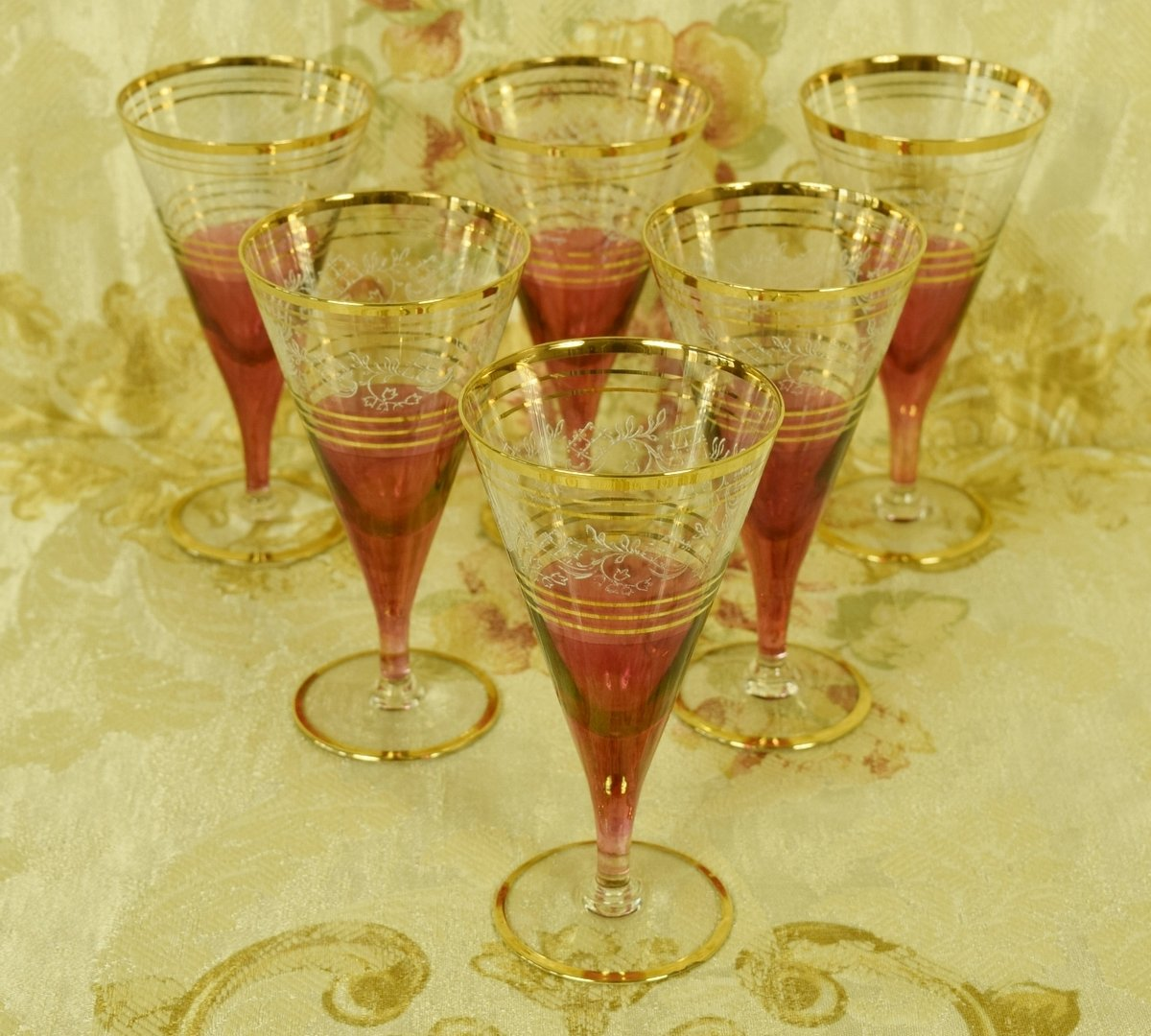 B873 - Divine Set 6 Vintage French Cranberry, Etched & Gilded Sherry Glasses
