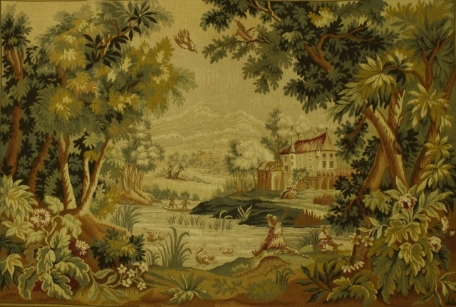 B1193 - Superb Vintage French Tapestry Wall Hanging, 18th C Scene 'Paysage Du Lauragais'