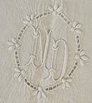 B1255 - Sublime Antique French Monogrammed 'ND' Linen Dowry Sheet, Richelieu Lace 19th C