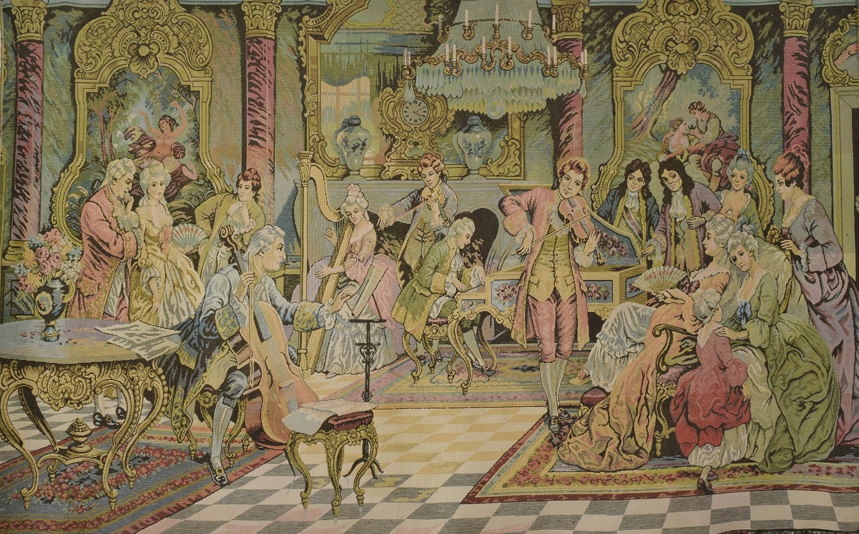 B1362 - Sensational Large Vintage French Tapestry Wall Hanging, 18th Century Society Scene