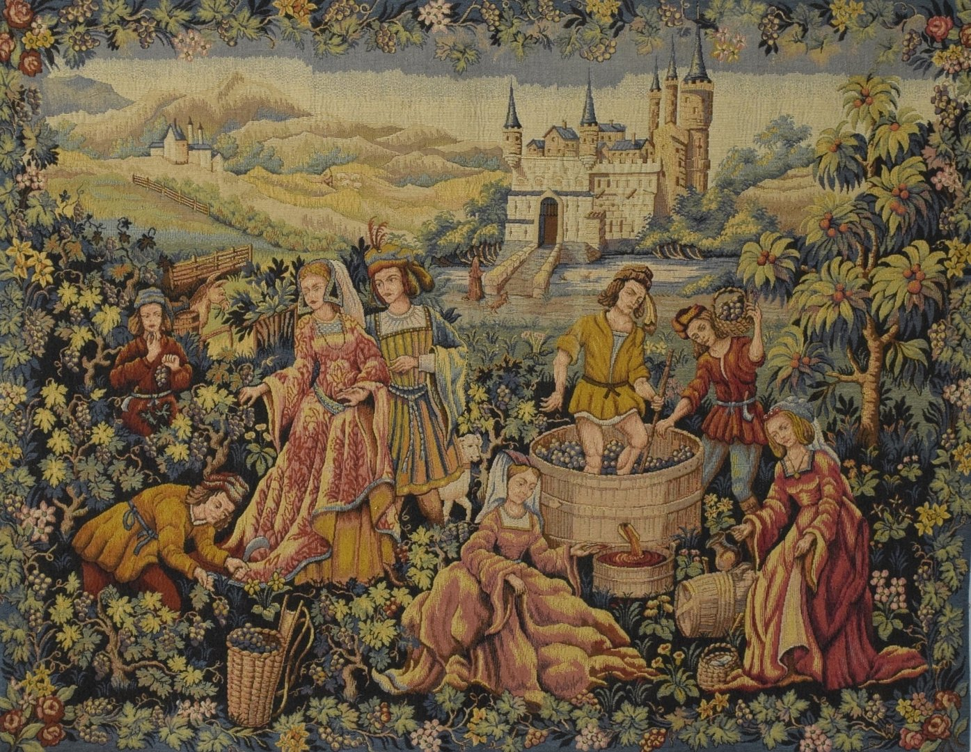 B1363 - Delightful Vintage French Tapestry Wall Hanging, Medieval Vineyard Winemaking Scene