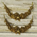 B1385 - Beautiful PAIR Antique French Gilded Mounts / Embellishments Flower Garland Swag