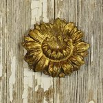 B1404 - Delightful SET 6 Antique French Gilded Metal Flower Embellishments / Mounts
