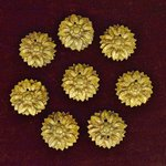 B1405 - Beautiful SET 8 Antique French Gilded Metal Flower Embellishments / Mounts