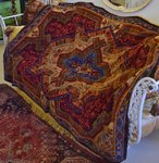 B1406 - Gorgeous Antique French Sumptuous Plush Tablecloth / Throw / Rug, 19th Century