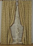 B1409a - Beautiful Pair Long Vintage French Cotton Brocade Curtains / Drapes