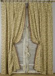 B1409b - Beautiful Pair Long Vintage French Cotton Brocade Curtains / Drapes