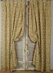 B1409c - Beautiful Pair Long Vintage French Cotton Brocade Curtains / Drapes