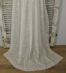 B1412 - Divinely Pretty Antique French Fine Muslin, Cornely Lace Curtain / Drape, 19th C