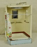 B1415 - Charming Vintage French Doll's House Tin Shower Room With Working Shower, 1950's