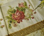B1420 - Beautiful Antique French Hand Painted Roses Church Pelmet, Gold Fringing, 19th C