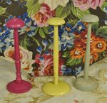 B1421 - SET Three Charming Antique French Turned Wood Timeworn Painted Hat Stands