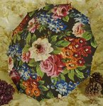 B1422 - Gorgeous Antique French Parasol, Stunning Floral Print, Wooden Handle, C1930