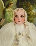 B1423 - Exquisite Antique French Boudoir Doll Bon Bon Box, First Communion Gift C1920