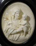 B1427 - Superb Antique French Religious Diorama, St.Joseph, Jesus & Fleur De Lys, 19th C