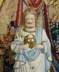 B1426 - Charming Antique Religious Painted Bisque Statue, Jesus Christ & Sacred Heart
