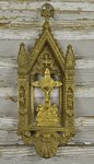 B1429 - Superb Antique French Architectural Icon, Gilded Jesus On Cross With Cherubs