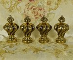 B1432 - Fabulous SET 4 Antique French Brass Curtain Pole Finials, Tres Chateau Chic