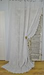 B1433 - Beautiful Antique French Fine Muslin, Cornely Lace Long Curtain / Drape 19th C