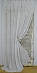 B1434 - Divine Antique French Fine Muslin, Cornely Lace Long Curtain / Panel 19th C