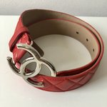 Chanel logo belt red leather