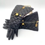 Chanel quilted long gloves with Rue Cambon logo
