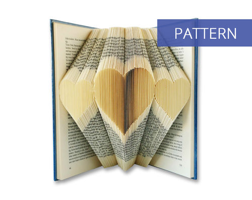 Folded book art pattern 3 Hearts