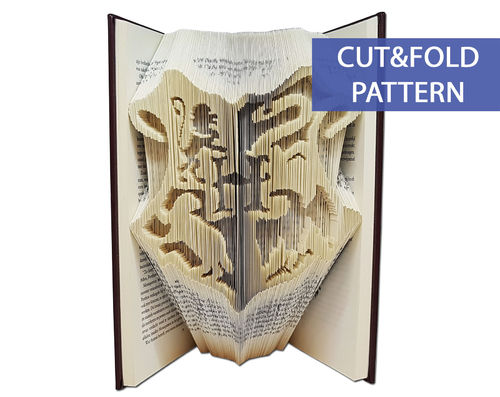 Folded Book Art Pattern - Cut & Fold - Hogwarts Crest