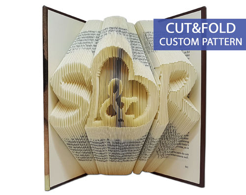 Custom Folded Book Art Pattern - Cut & Fold - Initials with an ampersand in a heart