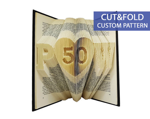 Custom Folded Book Art Pattern - Cut & Fold - Initials with a heart and number