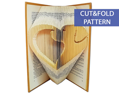 Folded Book Art Pattern - Cut & Fold - Dog Silhouette in a Heart
