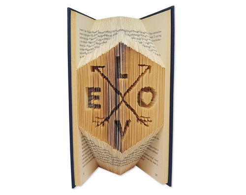 Folded Book Art Pattern - Cut & Fold - Love with arrows