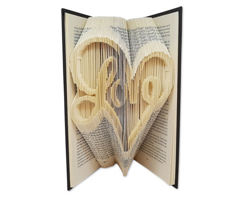 Folded Book Art Pattern - Cut & Fold - Love written in heartshape