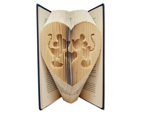 Folded Book Art Pattern - Cut & Fold - Kissing Mickey and Minnie