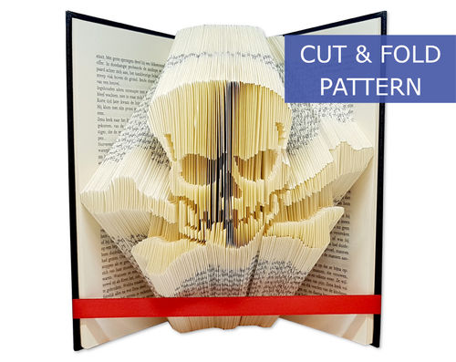 Folded Book Art Pattern - Cut & Fold - Skull