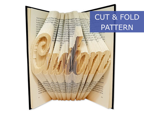 Custom Folded Book Art Pattern - Cut & Fold - Custom word or name