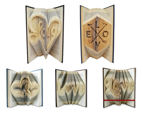 Folded Book Art Pattern - Cut & Fold - Love pack with 5 patterns
