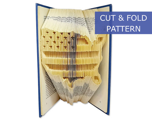 Folded Book Art Pattern - Cut & Fold - American flagg