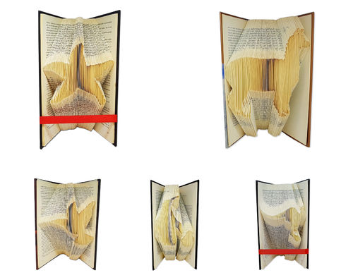 Folded Book Art Pattern - Cut & Fold - Zoo pack with 5 patterns
