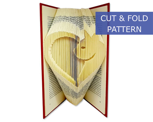 Folded Book Art Pattern - Cut & Fold - Cat in a heart