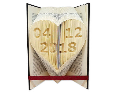 Custom Folded Book Art Pattern - Cut & Fold - Date inside a heart