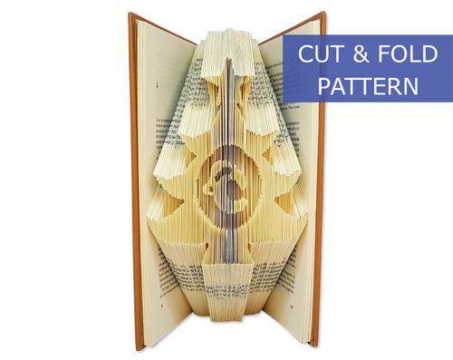 Custom Folded Book Art Pattern - Cut & Fold - Christmas tree with a custom letter
