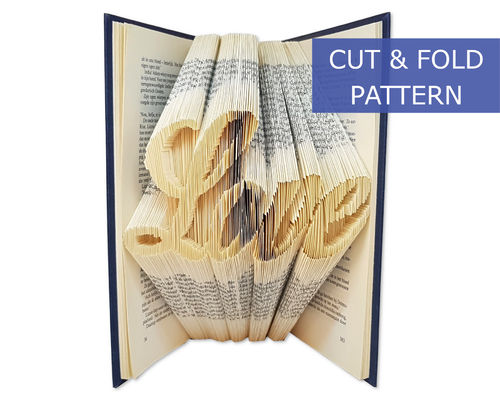 Folded Book Art Pattern - Cut & Fold - Heart with infinity sign