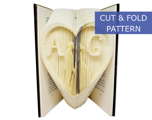 Custom Folded Book Art Pattern - Cut & Fold - Heart with wedding couple and custom initials