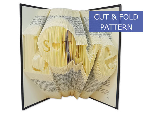 Custom Folded Book Art Pattern - Cut & Fold - Love with custom initials