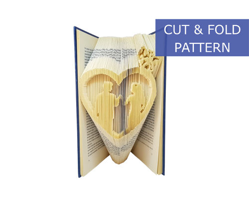 Folded Book Art Pattern - Cut & Fold - Heart with a wedding couple