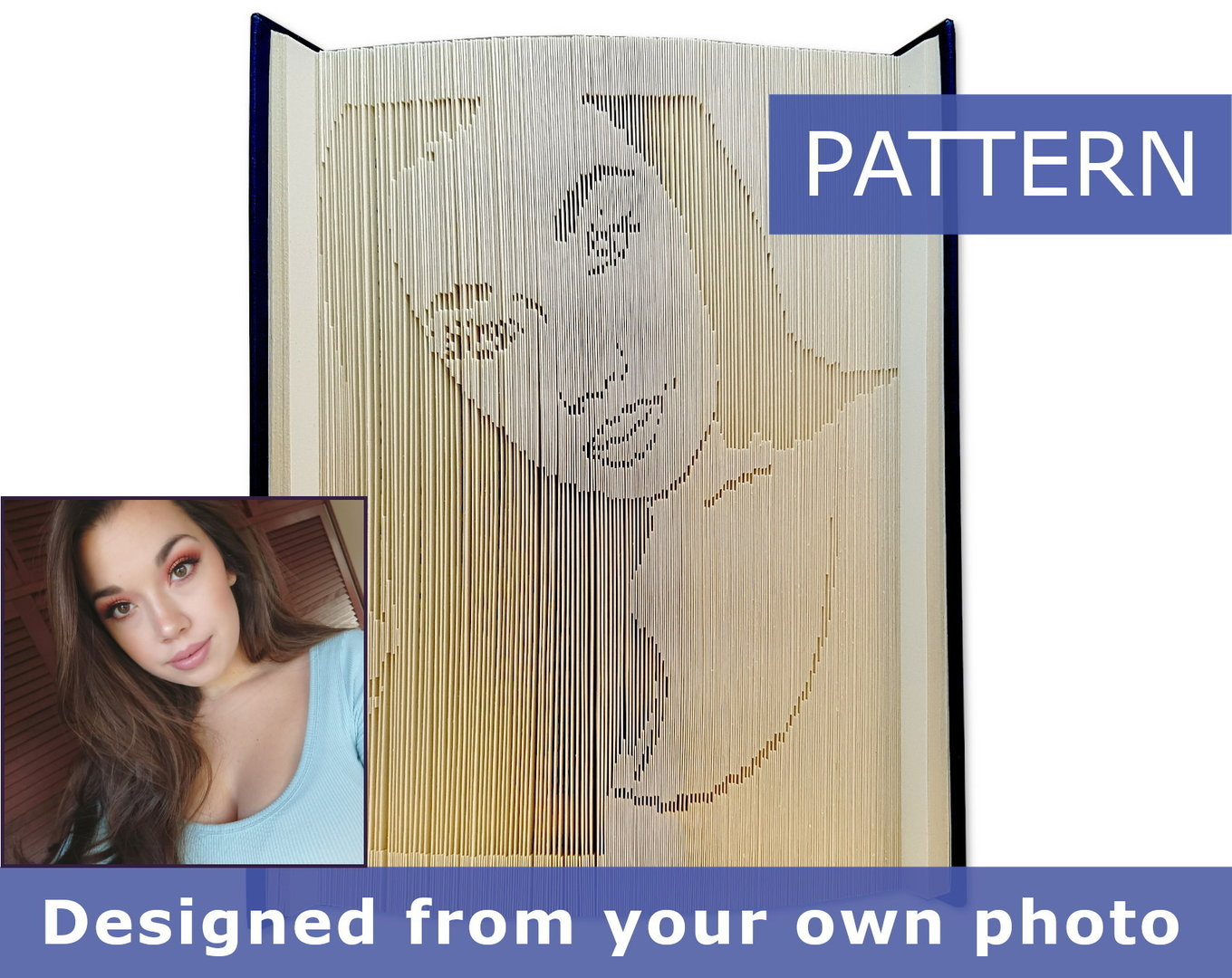 Custom Folded Book Art Pattern - Cut & Fold - Portrait from a photo